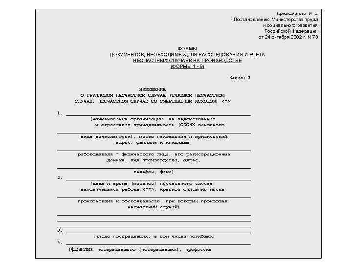 Приложение N 1 к Постановлению Министерства труда и социального развития Российской Федерации от 24