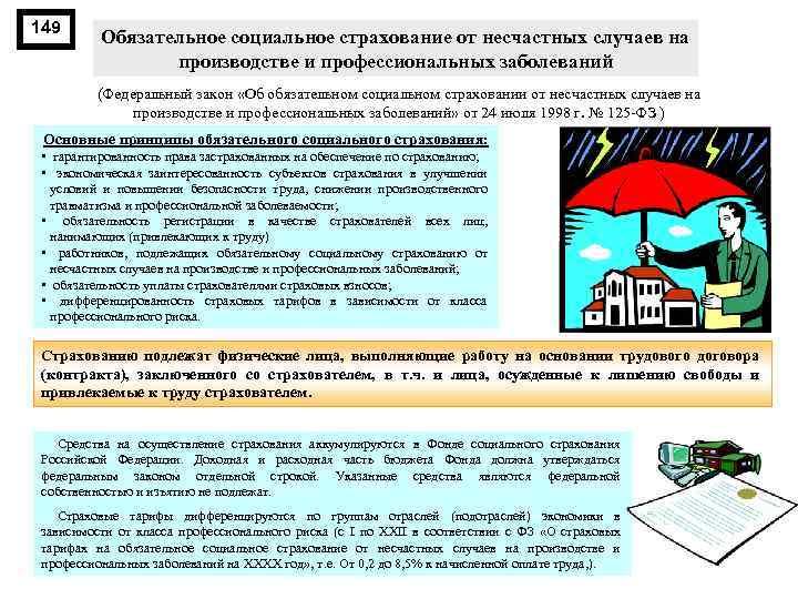 149 Обязательное социальное страхование от несчастных случаев на производстве и профессиональных заболеваний (Федеральный закон