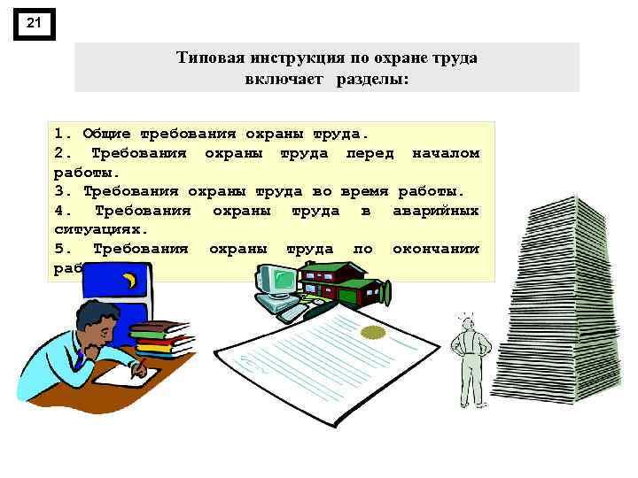 21 Типовая инструкция по охране труда включает разделы: 1. Общие требования охраны труда. 2.