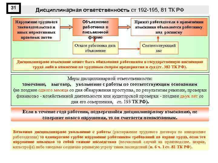 31 Дисциплинарная ответственность ст 192 -195, 81 ТК РФ Нарушение трудового законодательства и иных