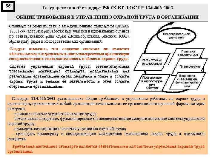 56 Государственный стандарт РФ ССБТ ГОСТ Р 12. 0. 006 2002 ОБЩИЕ ТРЕБОВАНИЯ К