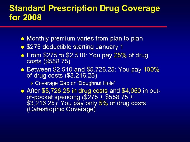 Standard Prescription Drug Coverage for 2008 l l Monthly premium varies from plan to
