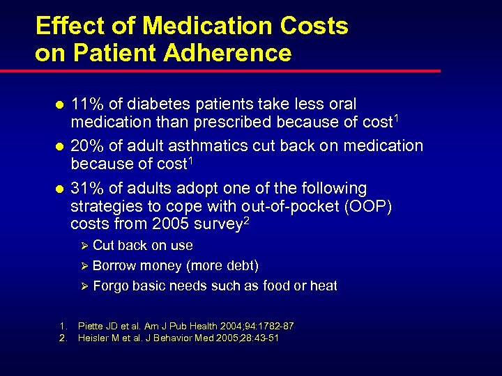 Effect of Medication Costs on Patient Adherence l l l 11% of diabetes patients