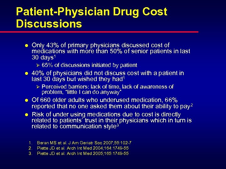 Patient-Physician Drug Cost Discussions l Only 43% of primary physicians discussed cost of medications