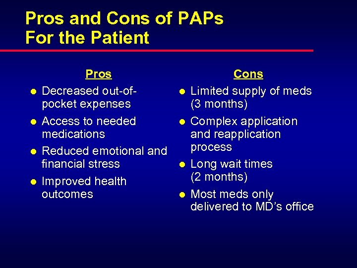 Pros and Cons of PAPs For the Patient l l Pros Decreased out-ofpocket expenses