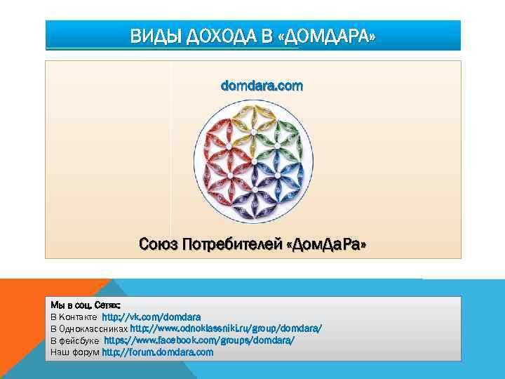 ВИДЫ ДОХОДА В «ДОМДАРА» domdara. com Союз Потребителей «Дом. Да. Ра» Мы в соц.