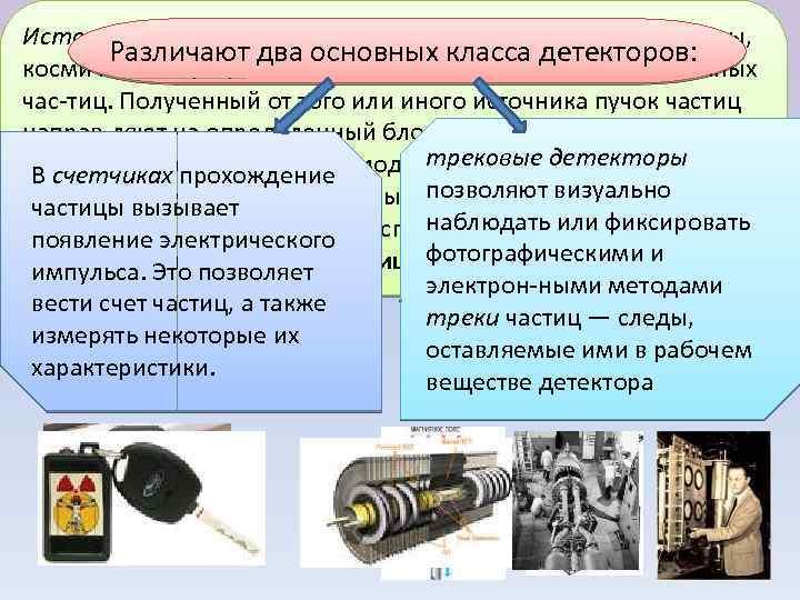 Источниками частиц могут служить радиоактивные препараты, Различают два основных класса детекторов: космические лучи, ядерные