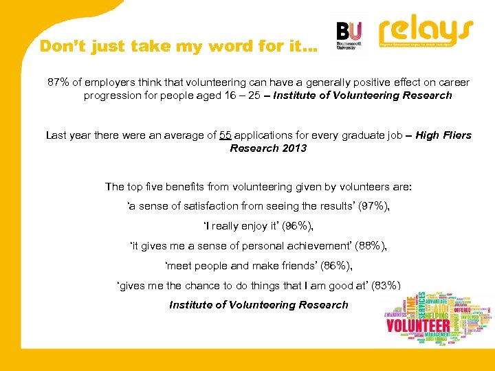 Don't just take my word for it… 87% of employers think that volunteering can