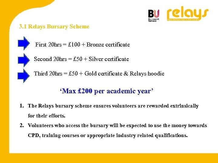 3. 1 Relays Bursary Scheme First 20 hrs = £ 100 + Bronze certificate