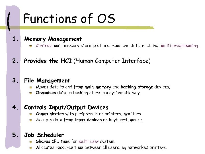 Functions of OS 1. Memory Management 2. Provides the HCI (Human Computer Interface) 3.