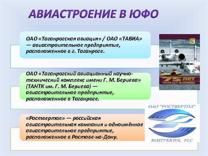 ОАО «Таганрогская авиация» / ОАО «ТАВИА» — авиастроительное предприятие, расположенное в г. Таганроге. ОАО