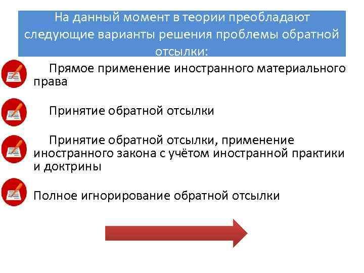 На данный момент в теории преобладают следующие варианты решения проблемы обратной отсылки: Прямое применение