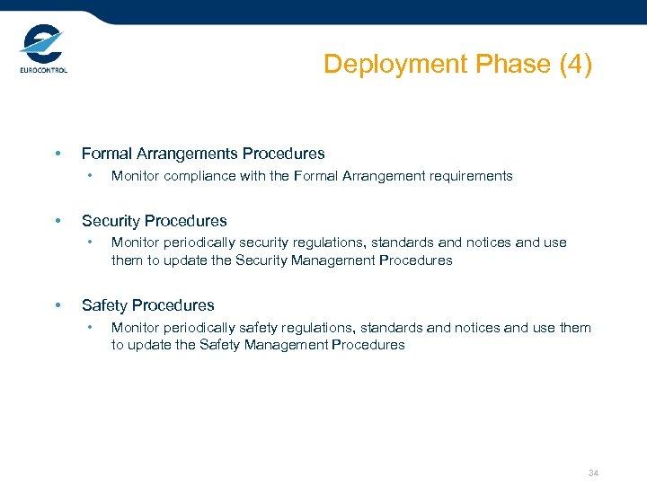 Deployment Phase (4) • Formal Arrangements Procedures • • Security Procedures • • Monitor