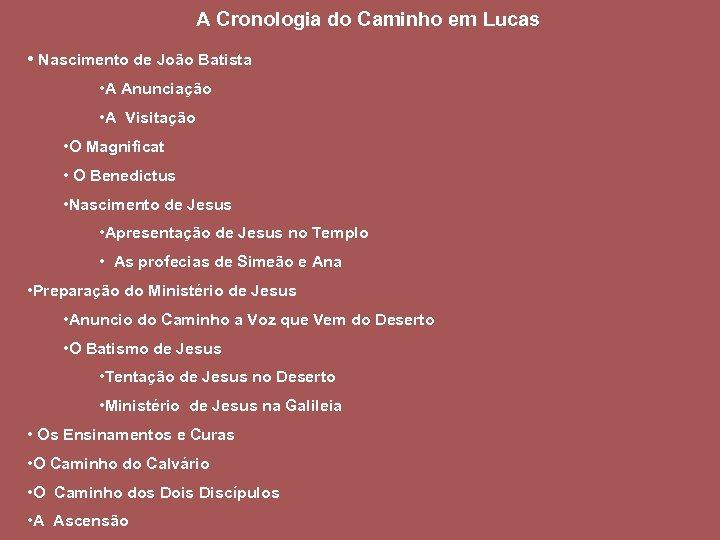 A Cronologia do Caminho em Lucas • Nascimento de João Batista • A Anunciação