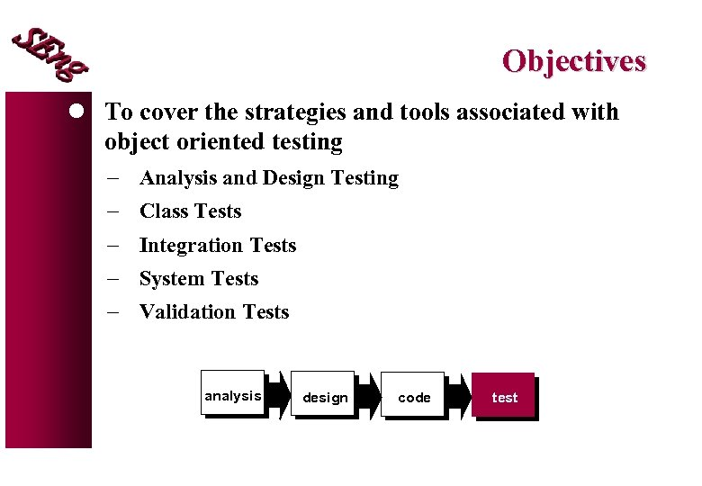 Objectives l To cover the strategies and tools associated with object oriented testing -