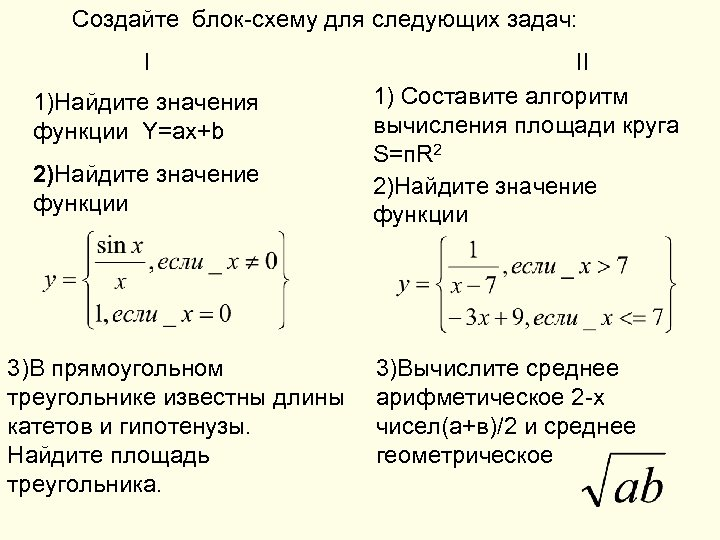 Создайте блок-схему для следующих задач: I 1)Найдите значения функции Y=ax+b 2)Найдите значение функции 3)В