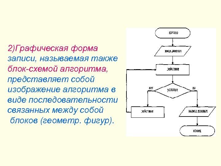 2)Графическая форма записи, называемая также блок-схемой алгоритма, представляет собой изображение алгоритма в виде последовательности
