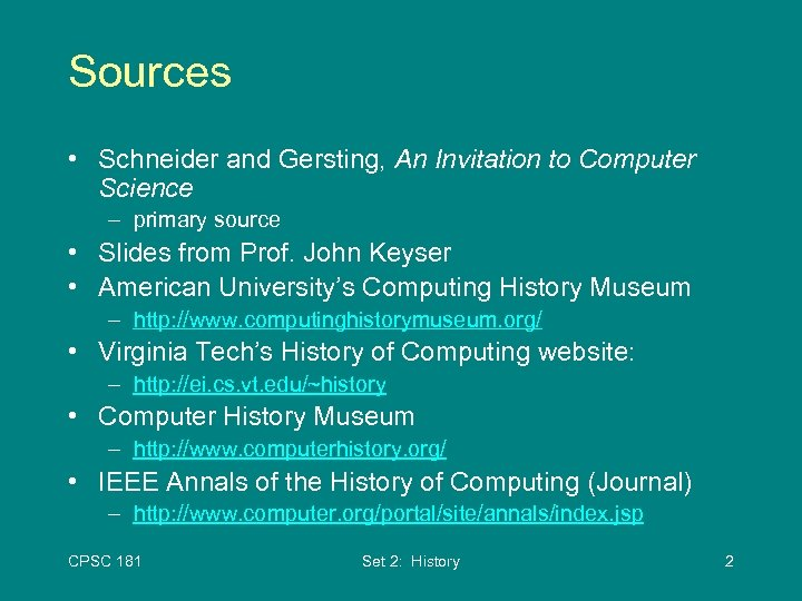 Cpsc 181 A Brief History Of Computer Science