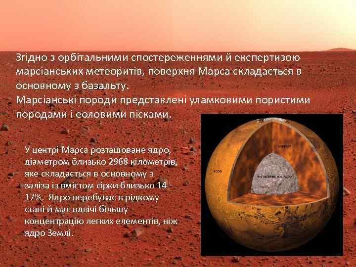 Згідно з орбітальними спостереженнями й експертизою марсіанських метеоритів, поверхня Марса складається в основному з