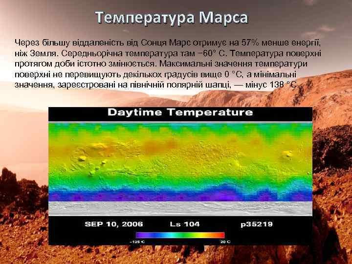 Температура Марса Через більшу віддаленість від Сонця Марс отримує на 57% менше енергії, ніж