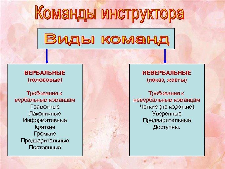 ВЕРБАЛЬНЫЕ (голосовые) НЕВЕРБАЛЬНЫЕ (показ, жесты) Требования к вербальным командам Грамотные Лаконичные Информативные Краткие Громкие