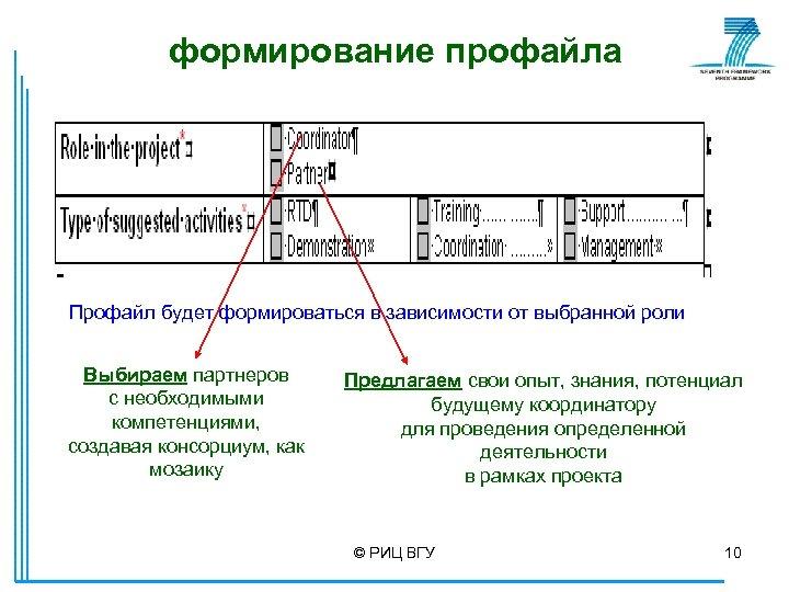 формирование профайла Профайл будет формироваться в зависимости от выбранной роли Выбираем партнеров с необходимыми