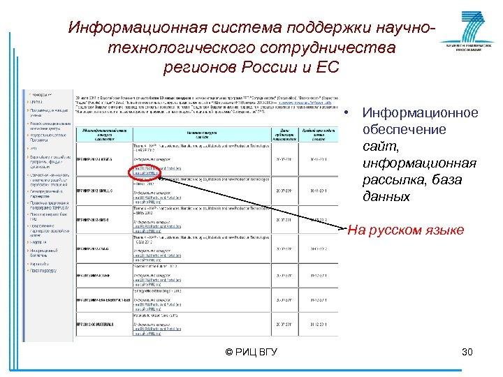 Информационная система поддержки научнотехнологического сотрудничества регионов России и ЕС • Информационное обеспечение сайт, информационная
