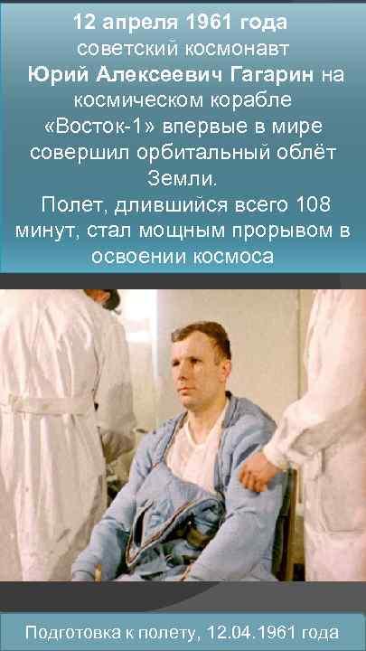 12 апреля 1961 года советский космонавт Юрий Алексеевич Гагарин на космическом корабле «Восток-1» впервые