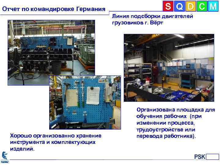 Отчет по командировке Германия Линия подсборки двигателей грузовиков г. Вёрт Хорошо организованно хранение инструмента