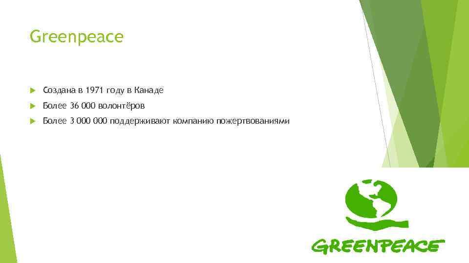 Greenpeace Создана в 1971 году в Канаде Более 36 000 волонтёров Более 3 000