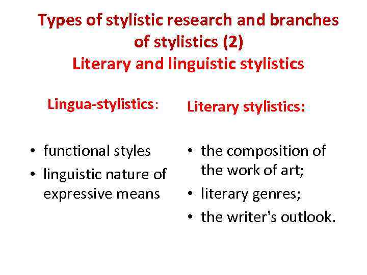 Types of stylistic research and branches of stylistics (2) Literary and linguistic stylistics Lingua-stylistics: