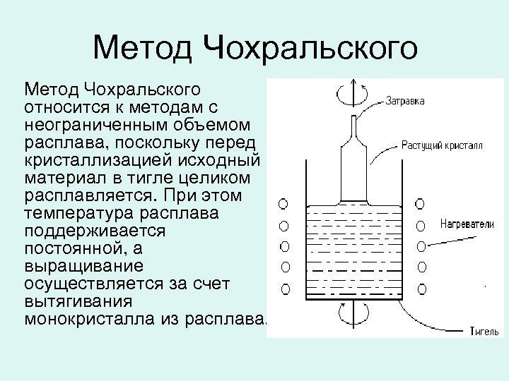 Метод Чохральского относится к методам с неограниченным объемом расплава, поскольку перед кристаллизацией исходный материал