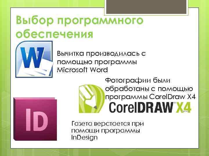 Выбор программного обеспечения Вычитка производилась с помощью программы Microsoft Word Фотографии были обработаны с