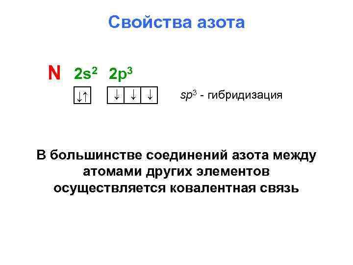 Свойства азота N 2 s 2 2 p 3 ↓↑ ↓ ↓ ↓ sp