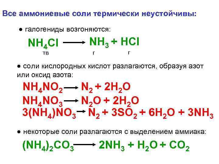 Все аммониевые соли термически неустойчивы: ● галогениды возгоняются: NH 4 Cl тв NH 3