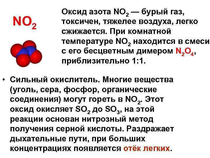 NО 2 Оксид азота NО 2 — бурый газ, токсичен, тяжелее воздуха, легко сжижается.