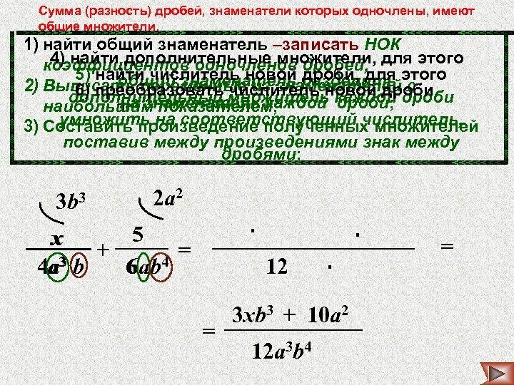 Сумма (разность) дробей, знаменатели которых одночлены, имеют общие множители. 1) найти общий знаменатель –записать