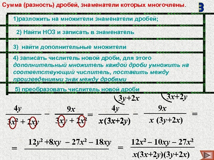 Сумма (разность) дробей, знаменатели которых многочлены. 1)разложить на множители знаменатели дробей; 2) Найти НОЗ