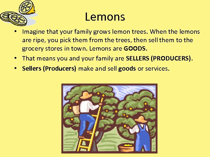 Lemons • Imagine that your family grows lemon trees. When the lemons are ripe,
