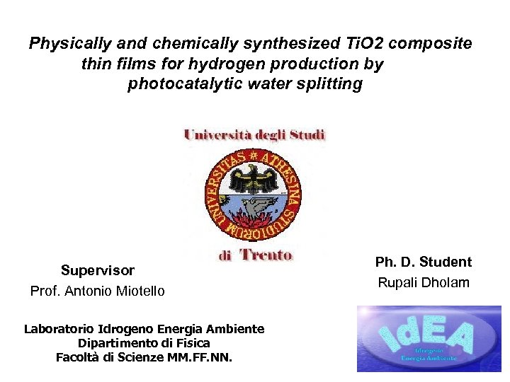 Physically and chemically synthesized Ti. O 2 composite thin films for hydrogen production by