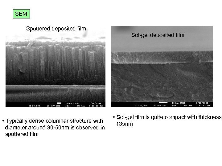 SEM Sputtered deposited film Sol-gel deposited film • Typically dense columnar structure with diameter