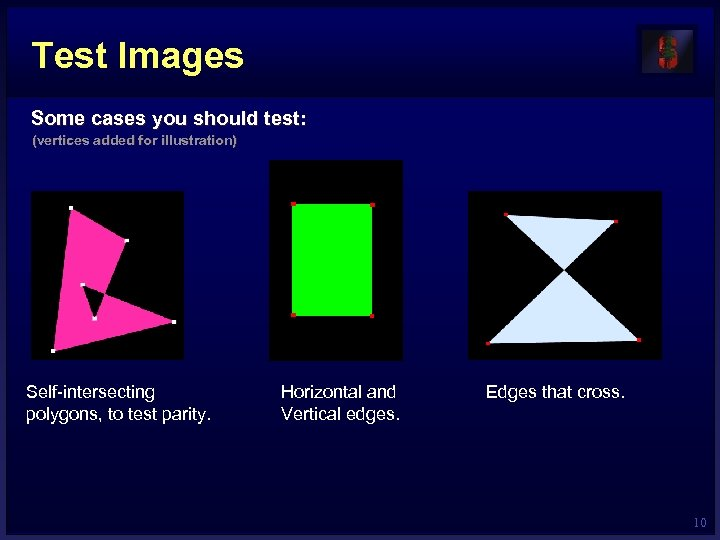 Test Images Some cases you should test: (vertices added for illustration) Self-intersecting polygons, to