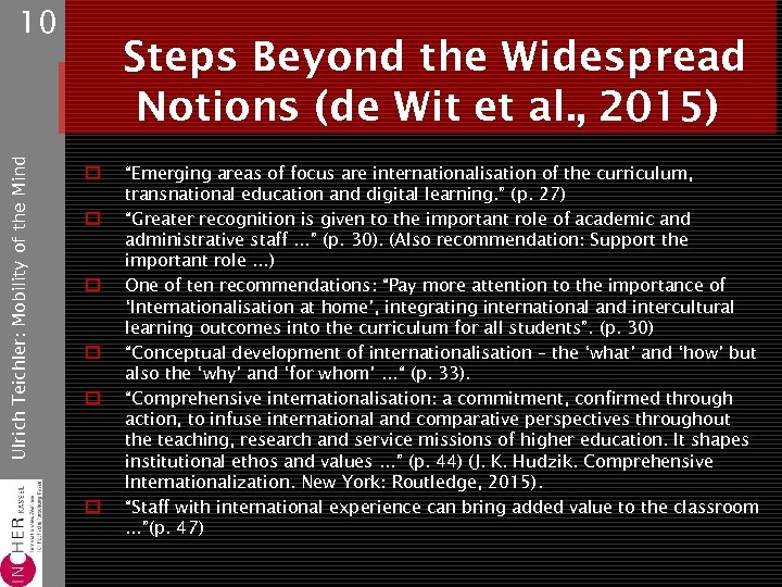Ulrich Teichler: Mobility of the Mind 10 Steps Beyond the Widespread Notions (de Wit
