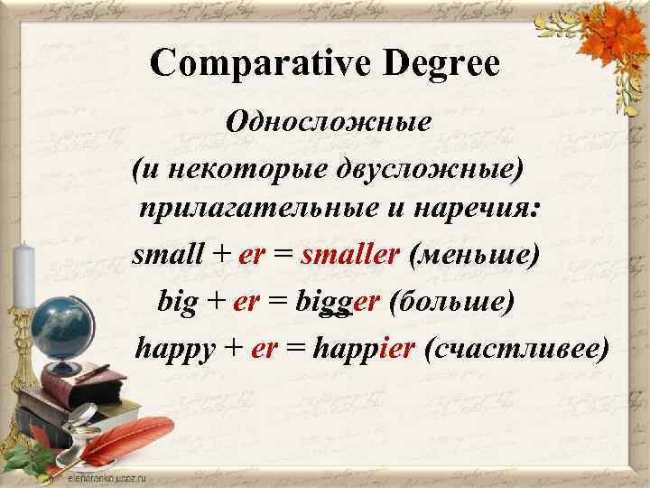 Comparative Degree Односложные (и некоторые двусложные) прилагательные и наречия: small + er = smaller