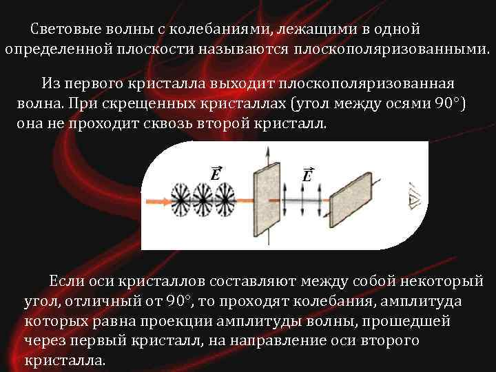 Световые волны с колебаниями, лежащими в одной определенной плоскости называются плоскополяризованными. Из первого кристалла