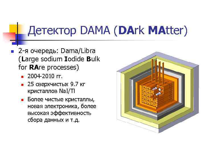 Детектор DAMA (DArk MAtter) n 2 -я очередь: Dama/Libra (Large sodium Iodide Bulk for
