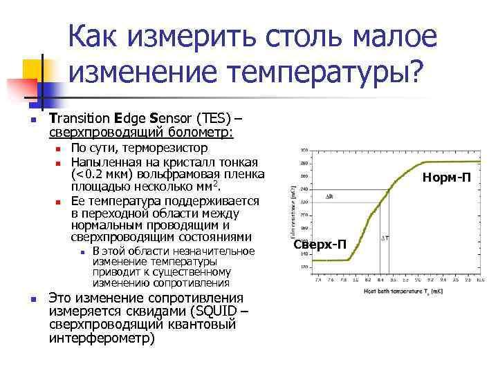 Как измерить столь малое изменение температуры? n Transition Edge Sensor (TES) – сверхпроводящий болометр: