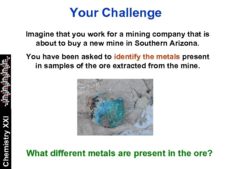 Your Challenge Imagine that you work for a mining company that is about to