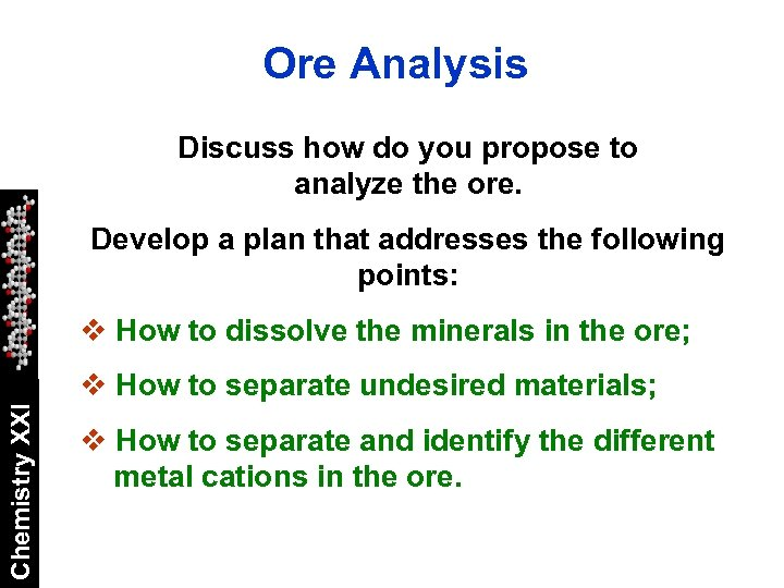 Ore Analysis Discuss how do you propose to analyze the ore. Develop a plan