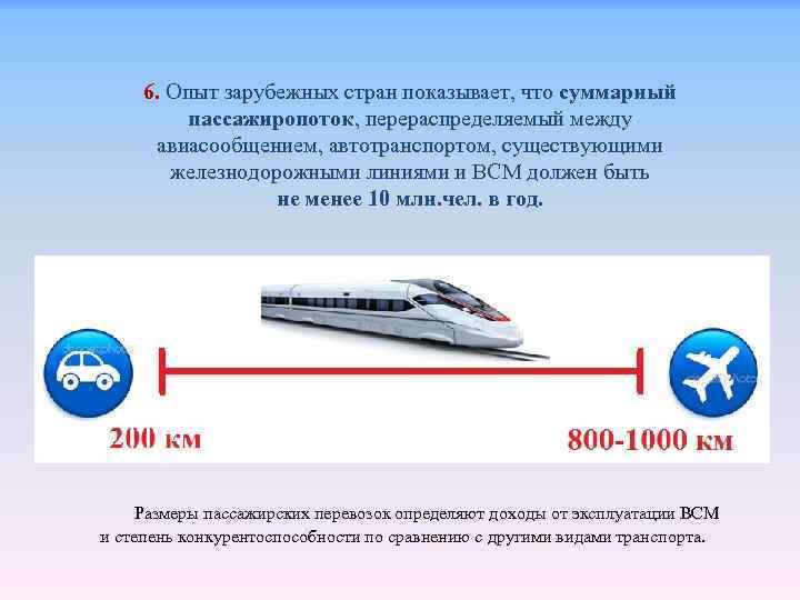 6. Опыт зарубежных стран показывает, что суммарный пассажиропоток, перераспределяемый между авиасообщением, автотранспортом, существующими железнодорожными
